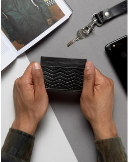 Leather Card Holder In Black With Emboss