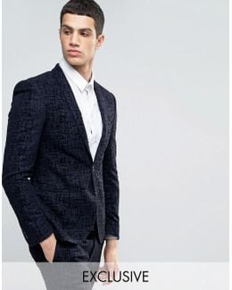 Super Skinny Suit Jacket With Flocking
