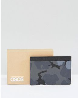 Leather Card Holder In Camo