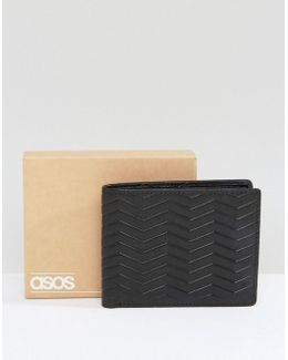 Leather Wallet In Black With Emboss