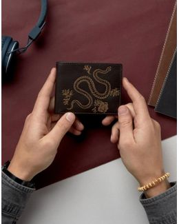 Leather Wallet With Emboss Snake
