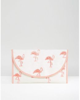 Beach Embroidered Flamingo Clutch Bag