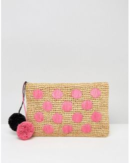 Beach Straw Spot Clutch Bag With Poms