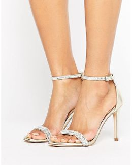 Ciasa Gold Two Part Heeled Sandals