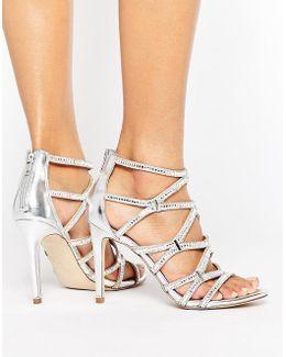 Liah Metallic Cage Heeled Sandals