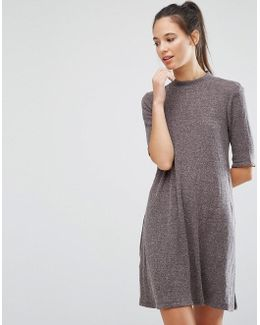 Ribbed High Neck Swing Dress