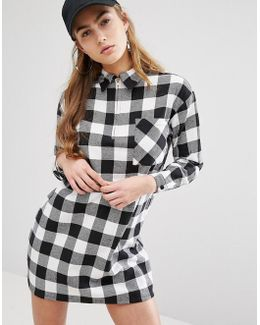 Relaxed Shirt Dress With Zip Neck In Check