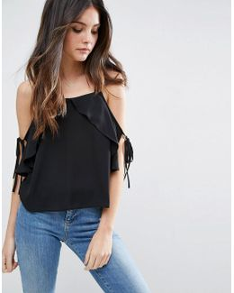 Thick Strap Cami With Tie Cold Shoulder