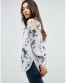 Tie Shoulder Blouse In Marble Print