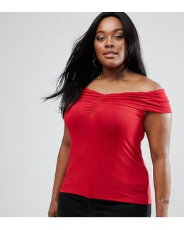 Off Shoulder Top With Ruched Detail