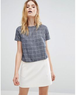 Woven Brushed Check Crop Blouse