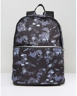 Backpack With Dragon Print And Faux Leather Trims