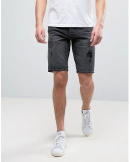 Intelligence Denim Shorts With Distressing In Regular Fit