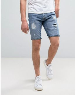Intelligence Denim Shorts In Regular Fit With Distressing