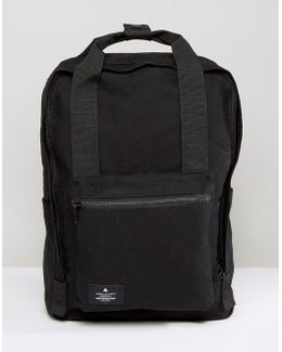 Backpack In Black Canvas With Patch