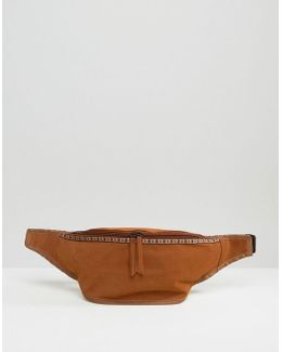 Bum Bag In Faux Suede With Patterned Trim