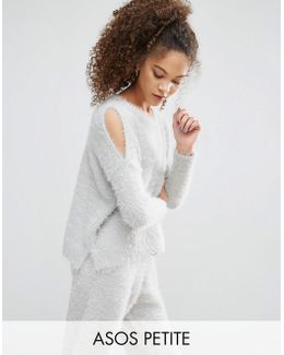 Lounge Sweater With Cold Shoulder In Fluffy Yarn Co Ord