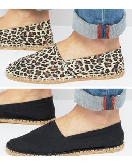 2 Pack Espadrilles With Plain Black And Leopard Print