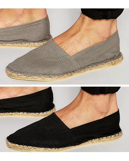 Canvas Espadrilles In Black And Gray 2 Pack Save