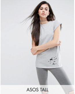 T-shirt In Boyfriend Fit With Distressed Detail