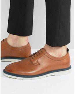 Derby Shoes In Tan Leather With Contrast Sole Detail