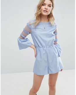 Chambray Romper With Embroidered Shirred Sleeves