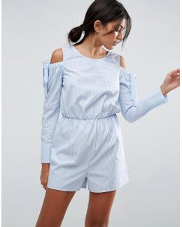 Cold Shoulder Shirting Romper With Cut Out Back