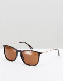 Square Sunglasses In Tort With Metal Arms