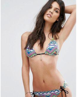 Tassel Trim Triangle Bikini Top
