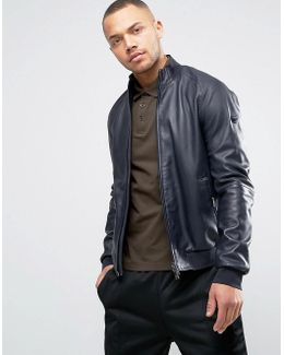 Leather Bomber Jacket In Navy
