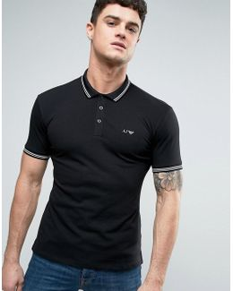 Slim Fit Pique Polo Tipped Logo In Black