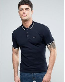 Slim Fit Pique Polo Tipped Logo In Navy