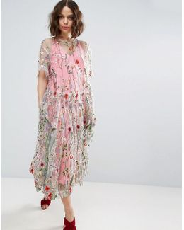 Salon Embroidered Smock Longer Length Midi Dress