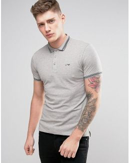 Slim Fit Pique Polo Tipped Logo In Gray Melange