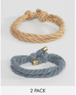 Rope Bracelet Pack In Tan And Navy