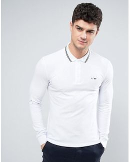 Long Sleeve Pique Polo Slim Fit Tipped In White
