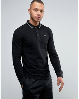 Long Sleeve Pique Polo Slim Fit Tipped In Black
