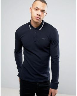 Long Sleeve Pique Polo Slim Fit Tipped In Navy