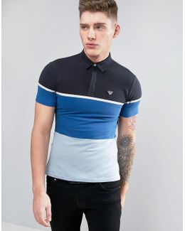 Slim Fit Pique Polo Color Block In Blue