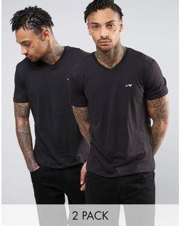 2 Pack T-shirt V-neck Regular Fit Black/black