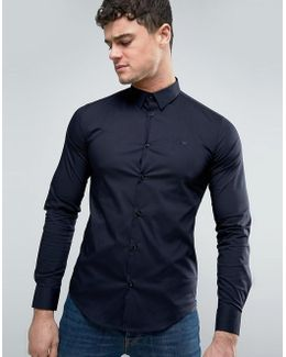 Tonal Logo Shirt Slim Fit Stretch In Navy