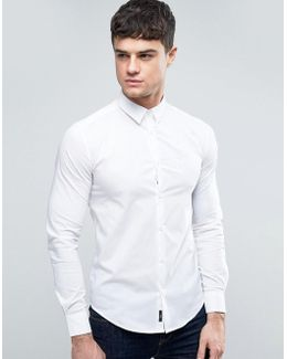 Tonal Logo Shirt Slim Fit Stretch In White