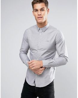 Tonal Logo Shirt Slim Fit Stretch In Gray