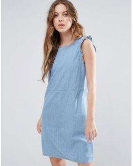 Mila Denim Frill Sleeve Dress