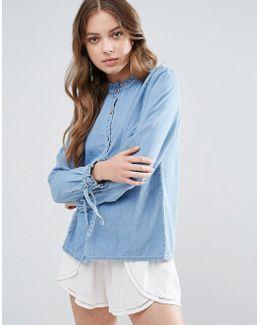 Mila Monk Collar Denim Shirt