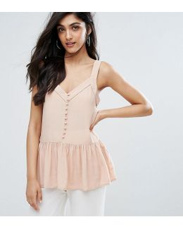 Button Front Peplum Hem Cami Top