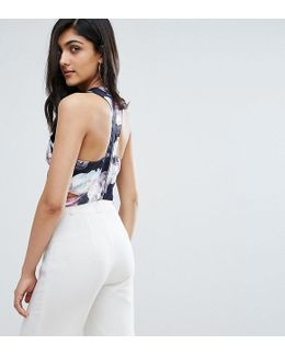 Y.a.s Studio Tall Aliana Strappy Back Crop Top In Floral Print