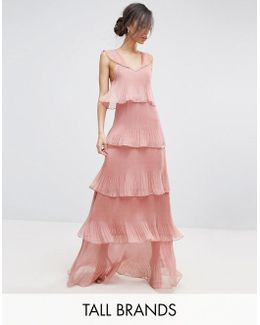 Cami Strap Maxi Dress With Ruffle Layered Pleated Skirt