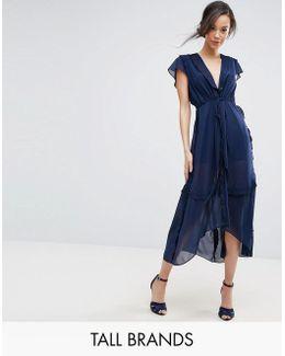Flutter Sleeve Midi Dress With Frill Trim