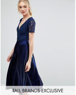 Wrap Front Lace Top Midi Prom Dress